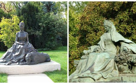 Statues of Elisabeth: one at Pesterzsébet and the other at Buda